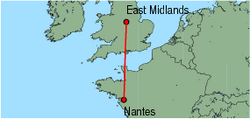 Map of route from EastMidlands to Nantes