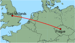 Map of route from East Midlands to Prague