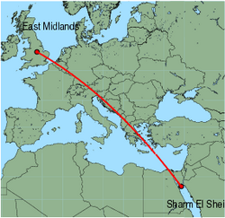 Map of route from East Midlands to Sharm El Sheikh