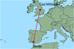 Map of route from East Midlands to Seville
