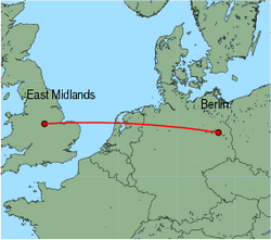 Map of route from EastMidlands to Berlin(Schoenefeld)