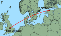 Map of route from East Midlands to Tallinn