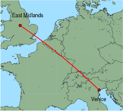 Map of route from EastMidlands to Venice(MarcoPolo)