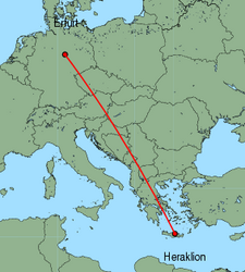 Map of route from Erfurt to Heraklion