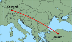 Map of route from Stuttgart to Ankara(Esenboga)