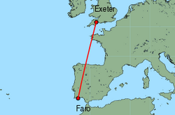 Map of route from Faro to Exeter