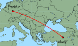 Map of route from Frankfurt (International) to Elazig