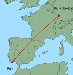 Map of route from Faro to Karlsruhe-Baden