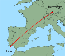 Map of route from Faro to Memmingen