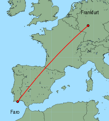 Map of route from Faro to Frankfurt(International)
