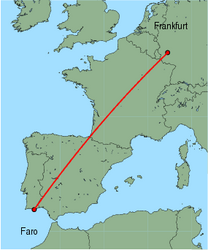 Map of route from Faro to Frankfurt (Hahn)