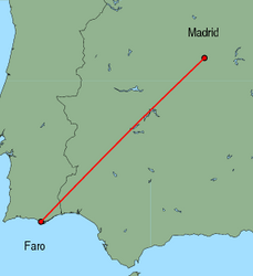 Map of route from Faro to Madrid