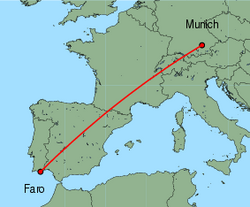 Map of route from Munich to Faro