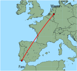 Map of route from Faro to Weeze