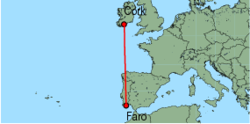 Map of route from Faro to Cork