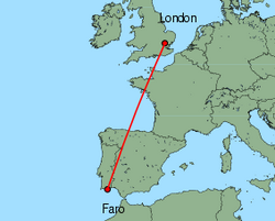 Map of route from London (Stansted) to Faro