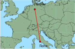 Map of route from Hanover to Rome(Fiumicino)