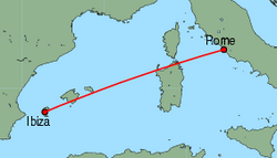Map of route from Ibiza to Rome(Fiumicino)