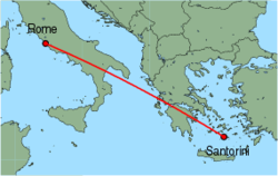 Map of route from Santorini to Rome (Fiumicino)