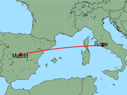 Map of route from Madrid to Rome (Fiumicino)