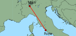 Map of route from Milan (Malpensa) to Rome (Fiumicino)