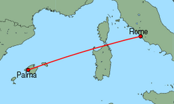 Map of route from Palma to Rome(Fiumicino)