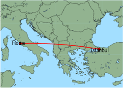 Map of route from Istanbul(Sabiha) to Rome(Fiumicino)
