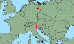 Map of route from Berlin(Schoenefeld) to Rome(Fiumicino)