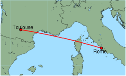 Map of route from Toulouse to Rome(Fiumicino)
