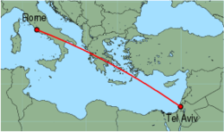 Map of route from Tel Aviv to Rome(Fiumicino)