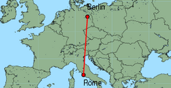 Map of route from Berlin(Tegel) to Rome(Fiumicino)
