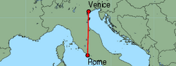 Map of route from Rome (Fiumicino) to Venice (Marco Polo)