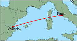 Map of route from Valencia to Rome (Fiumicino)