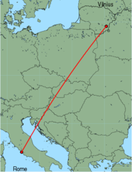 Map of route from Vilnius to Rome(Fiumicino)