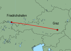 Map of route from Graz to Friedrichshafen