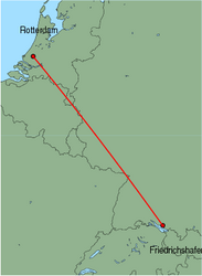 Map of route from Rotterdam to Friedrichshafen