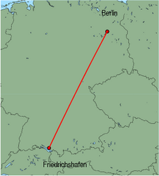 Map of route from Berlin (Tegel) to Friedrichshafen