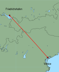 Map of route from Friedrichshafen to Venice (Marco Polo)