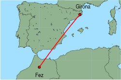 Map of route from Girona to Fez