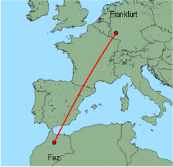 Map of route from Fez to Frankfurt (Hahn)