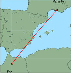 Map of route from Fez to Marseille