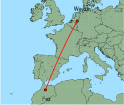 Map of route from Weeze to Fez