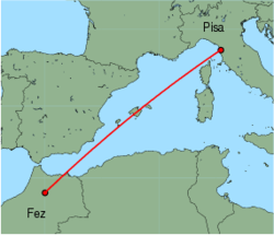 Map of route from Pisa to Fez