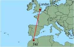 Map of route from London (Stansted) to Fez