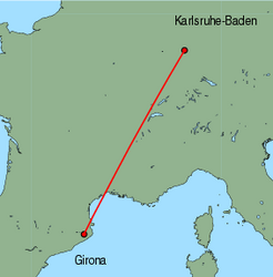 Map of route from Girona to Karlsruhe-Baden