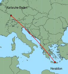 Map of route from Karlsruhe-Baden to Heraklion