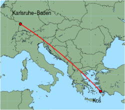 Map of route from Karlsruhe-Baden to Kos