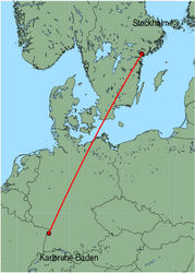 Map of route from Stockholm (Skavsta) to Karlsruhe-Baden