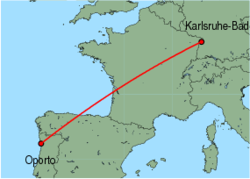 Map of route from Oporto to Karlsruhe-Baden