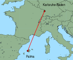 Map of route from Palma to Karlsruhe-Baden